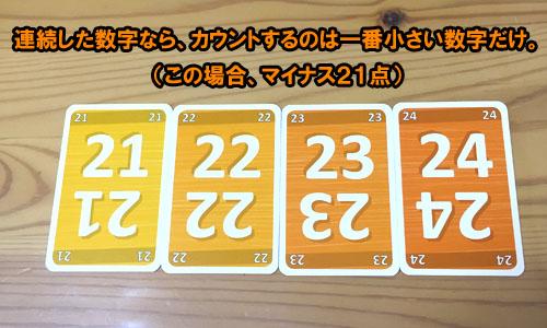 ゲシェンクの重要ルール:連続した数字は最少値だけカウントする
