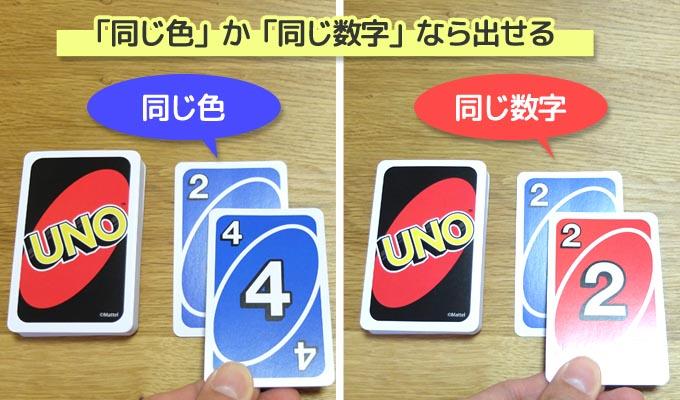 UNO(ウノ)のルール・遊び方『カードを出す時のルール』