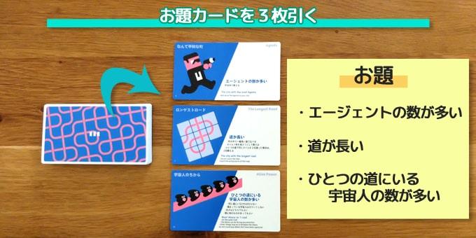 ナインタイルパニックのルール:お題カードを3枚引く