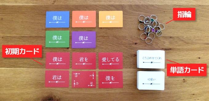 カードゲーム『たった今考えたプロポーズの言葉を君に捧ぐよ。』の内容物