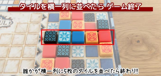 ボードゲーム『アズール』:誰かが壁のタイルを横一列に5枚並べるとゲームの終了