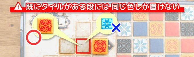 アズールのルール①:タイルが置かれている段には「同じ色」しか置くことができない