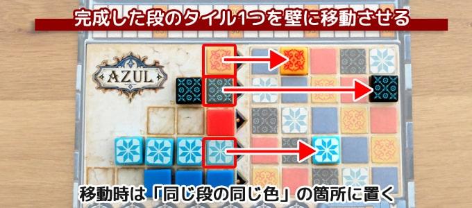 アズール(Azul):完成した段のタイル1つを「同じ段の同じ色」の壁に移動させる