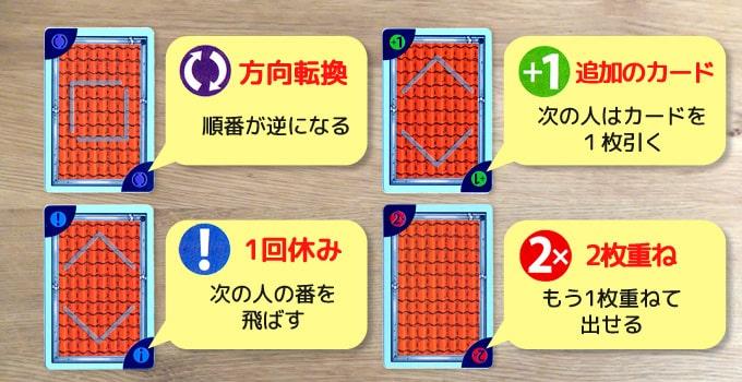 キャプテンリノの特殊効果カード:「方向転換」「1回休み」「追加のカード」「2枚重ね」