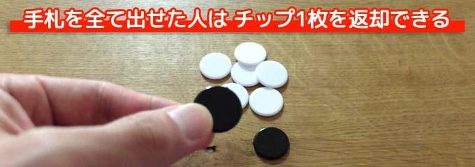 ボードゲーム『ラマ』:手札を全て出しきった人は「自分のチップ1枚を返却する」