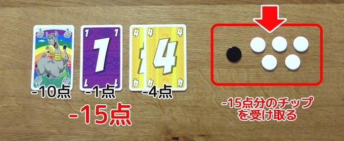 カードゲーム『ラマ』:得点計算が終わればマイナス点分のチップを受けとる