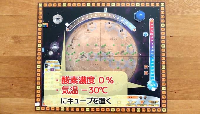 テラフォーミングマーズのゲームの準備:火星ボード上の「酸素濃度0%」、「気温-30℃」にキューブを置く