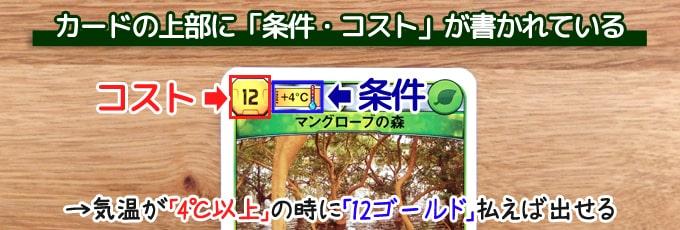テラフォーミングマーズ:カードの上部に「条件・コスト」が書かれている