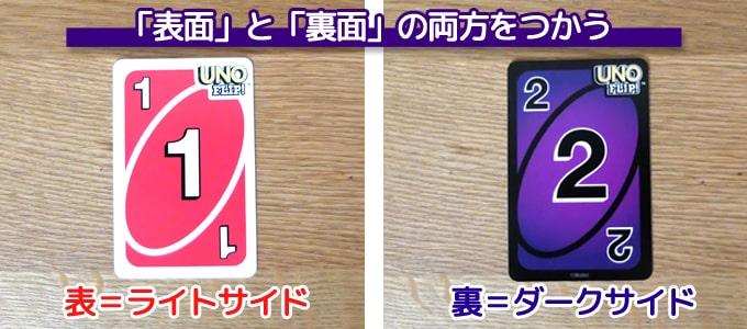 ウノフリップのカードは「表面」と「裏面」の両方に数字や記号が書かれている