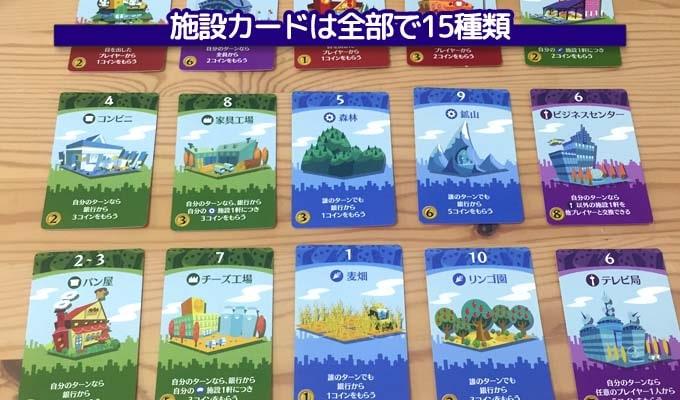 街コロに入っているもの:施設カード15種類