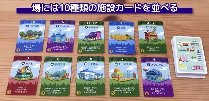 街コロを始める準備:場には10種類の施設カードを置く