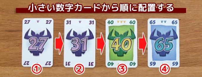 ニムトのルール:小さい数字から順に配置する