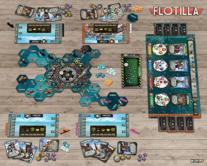 ボードゲーム『フローティラ(Flotilla)』のコンポーネント