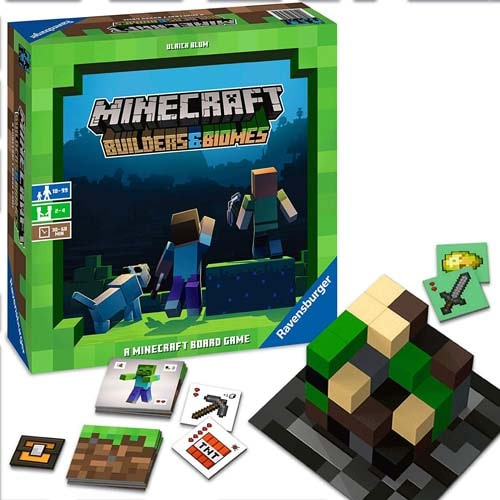 マインクラフトのボードゲーム『Minecraft: Builders & Biomes』は「ワールドを探索し、資源を手に入れて、自分のエリアを構築していく」というゲーム