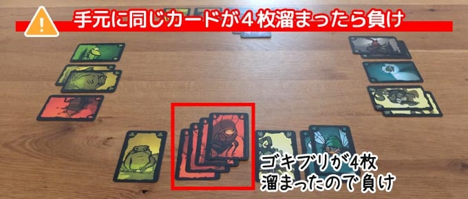 ごきぶりポーカーのゲーム終了『同じカードが4枚溜まった人の負け』