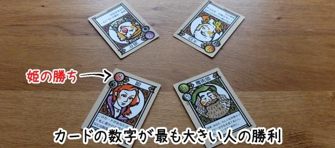 ラブレター:プレイヤー全員が手札を公開して、カードの強さが最も高い人の勝利となる