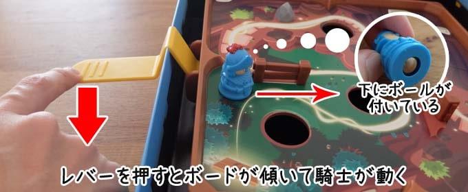 スライドクエスト:レバーを下に押すとボードが傾くようになっている