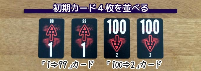ザ・ゲームの準備「初期カードを並べる」