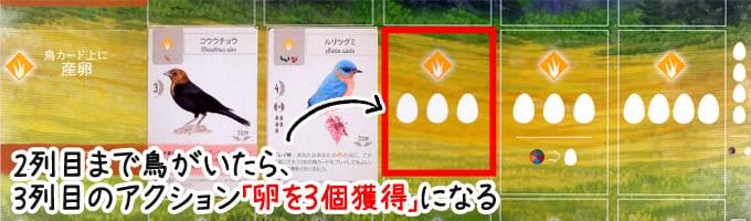 ウイングスパンのアクション「産卵」:草原の2列目に鳥がいたら、3列目のアクション「卵を3つ獲得」ができる