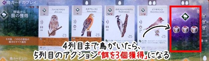 ウイングスパン:森林の4列目に鳥がいたら、餌を3個獲得する