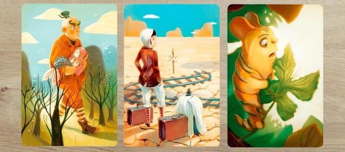 ディクシット拡張『オリジン』のカードは、童話っぽい雰囲気の絵柄