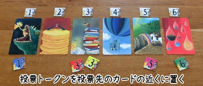 ディクシット:全員投票が終わったら、トークンを投票先のカードの近くに置く