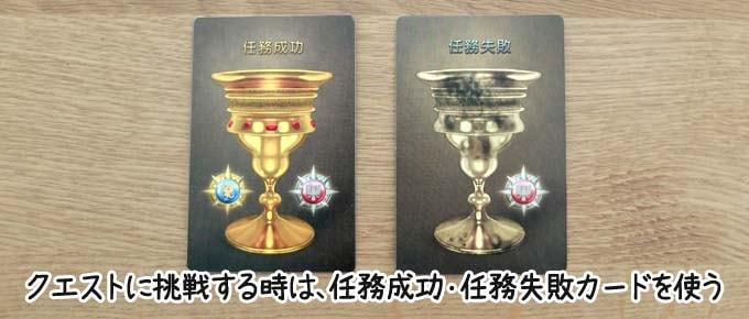 レジスタンスアヴァロンのクエストフェイズ:クエストに挑戦するメンバーは「任務成功カード」「任務失敗カード」のどちらか1枚を提出する