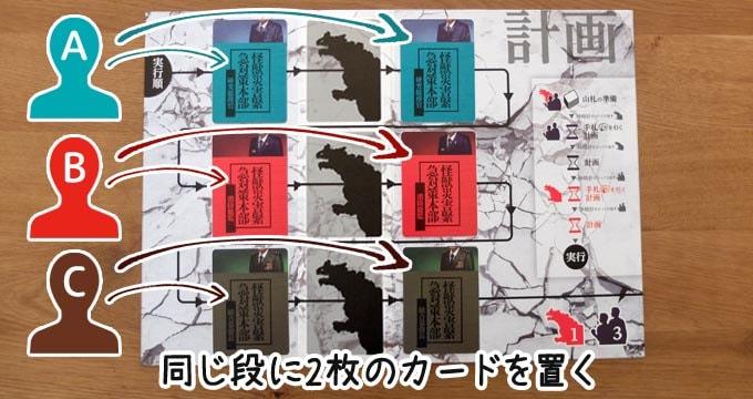 ボルカルス:人間チームがカードを置くときは1人が同じ段に2枚置かなければならない