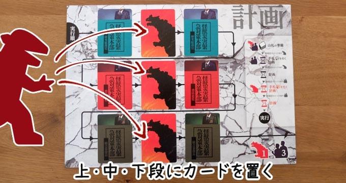 ボルカルス:怪獣は計画ボードの上・中・下段にカードを1枚ずつ置く