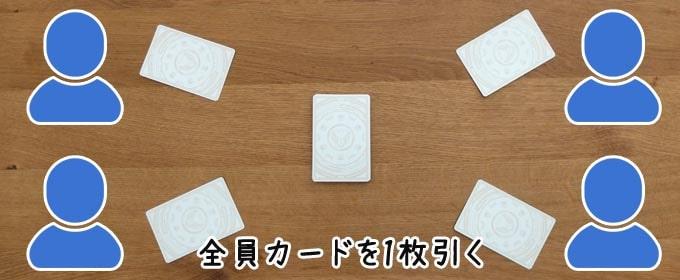 XENO(ゼノ)のゲーム準備:全員カードを1枚引く