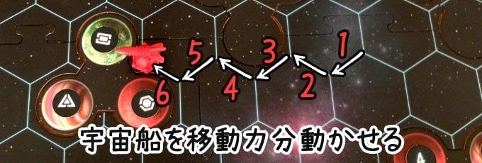 カタン宇宙開拓者版:自分の宇宙船すべて(移民船・交易船)を移動力分動かる