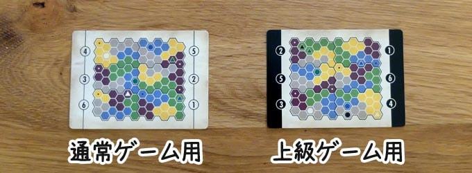 クリプティッド:通常ゲームを遊びたい人は「両端が白いカード」、上級ゲームを遊びたい人は「両端が黒いカード」を使う