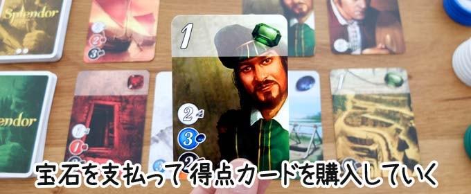 宝石の煌きは、「手に入れた宝石で得点カードを購入するだけ」というシンプルなテーブルゲーム