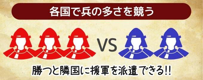 ボードゲーム『天下鳴動』:後半戦では、兵の多さで勝敗を競う