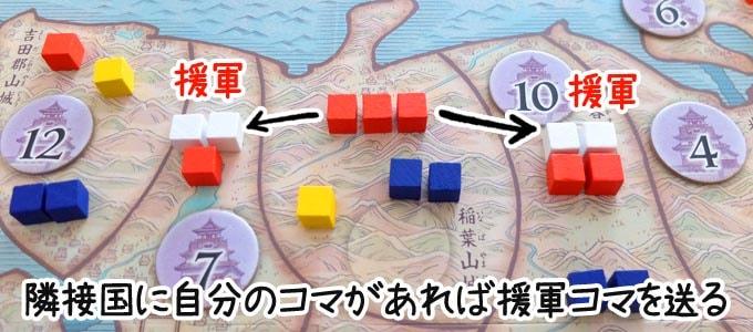 天下鳴動:1位のプレイヤーは隣り合う国に援軍を送る