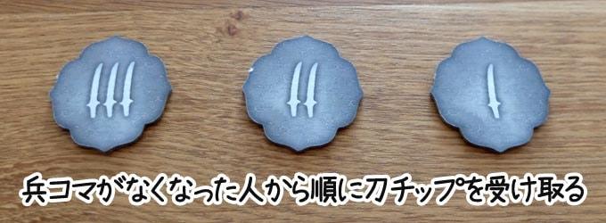 天下鳴動のルール:手元の兵コマが先になくなった人から順に「刀マークが多いチップ」を受け取る