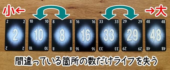 ザ・マインド エクストリームのブラインドモード:間違った順でカードを出している箇所の数だけライフを失う