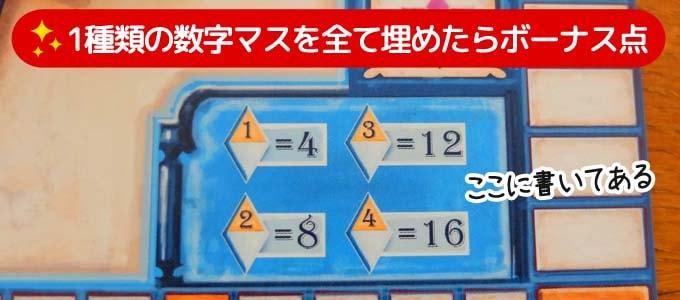 アズール:サマーパビリオン|1種類の数字マスを全7か所埋めたらボーナス点を獲得