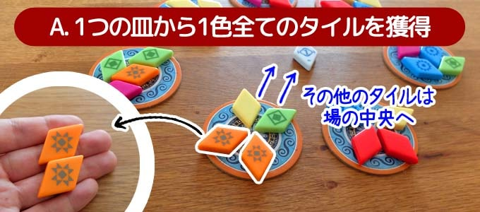 アズール:サマーパビリオンのルール|1つの皿からタイルを獲得する