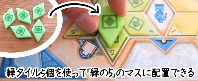 アズール:サマーパビリオン|緑タイル5個を消費して「緑の5のマス」にタイルを1個配置する