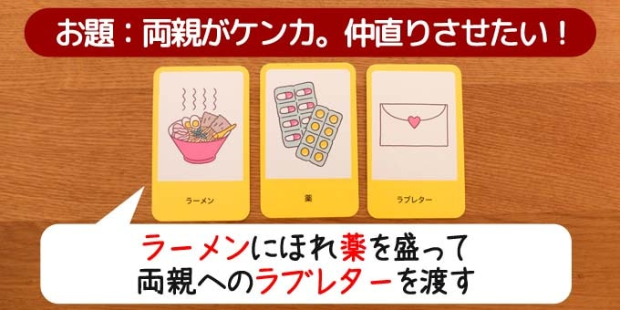キャット&チョコレート:3つのアイテムカードを使って、そのピンチを回避するストーリーを発表する