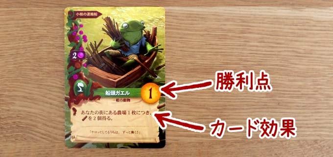 ボードゲーム『エバーデール』:カードには「カード効果」と「勝利点」が書いてある