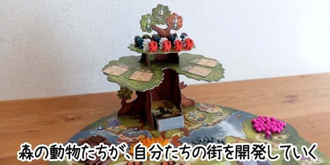 エバーデールは、森の小動物たちが街を作るというボードゲーム(2020年発売)