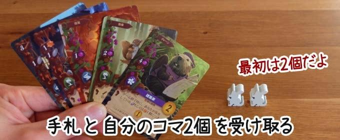 ボードゲーム『エバーデール』:各プレイヤーに手札とコマを配る