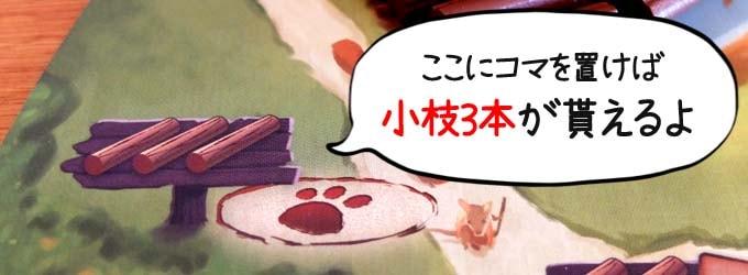 ボードゲーム『エバーデール』:小枝3本が貰えるマス