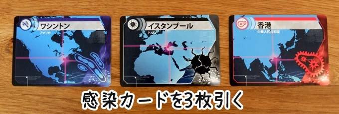 感染カードを3枚引く|パンデミック