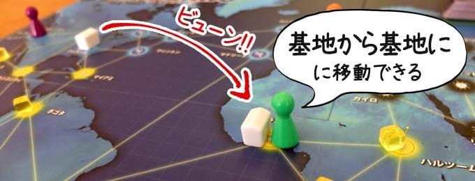 基地から基地へ移動する|パンデミック ボードゲーム