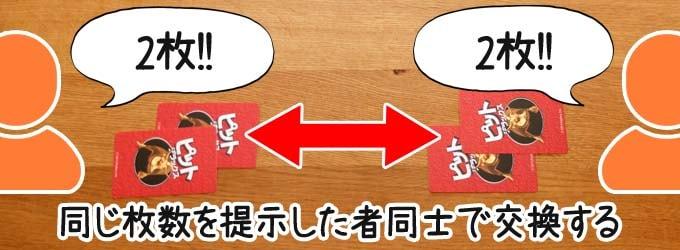 ピットデラックスのルール:同じ枚数を提示したプレイヤー同士は、そのカードを交換できる