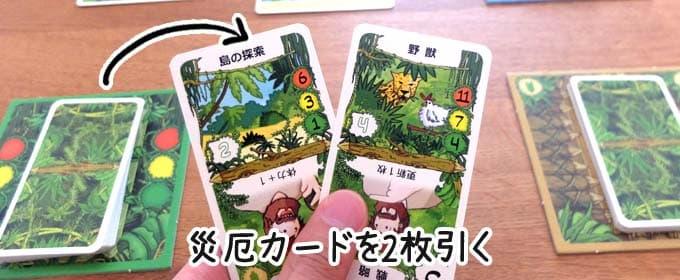 災厄カードを2枚引く|ロビンソン漂流記のルール