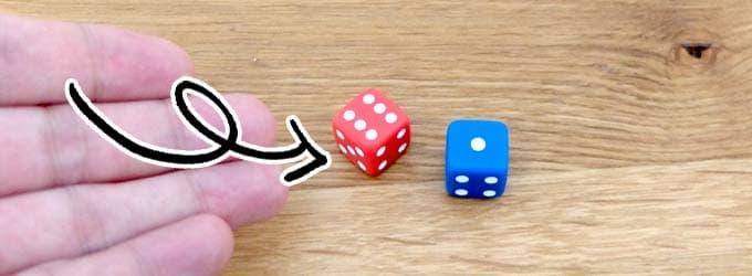 赤と青のダイスを振る|ミリオンヒットメーカー